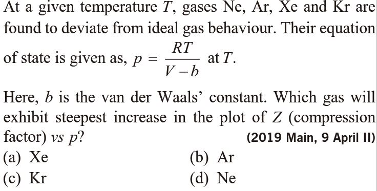 At a given temperature T, gases Ne, Ar, Xe and Kr are found to deviate from ideal gas behavior (JEE MAINS 2019)